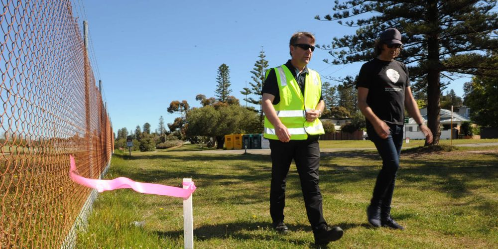 Cottesloe chief executive Mat Humfrey and Cr Michael Tucak walk the PSP route past Cottesloe train station.