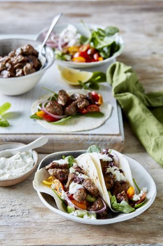 Greek lamb and feta taco