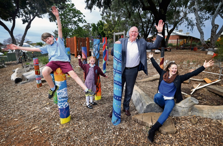 Joseph Davey (10) from Year 5, Alice Hammond (7) from Year 2, Principal Steve Hovitch and gardening committee coordinator Alex Ellis. Bayswater Primary School will be officially opening its 'Imaginature' playground on November 9. Picture: David Baylis. www.communitypix.com.au d487978