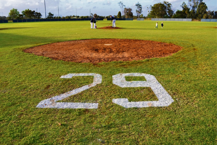 No.29, Ben Shorto's baseball number, adorns the diamond at Tom Bateman Reserve in Thornlie. Picture: Tahla Faataumaua