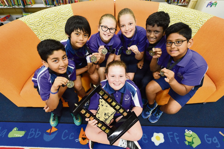 Aubin Grove PS Tournament of Minds students Ayaan Tomak, Owen Bayao, Rebecca Mulligan, Izzy East, Chelsea Clegg, Lalkrishna Rajasekharan & Ranjeev Ratheesh Nambiar.