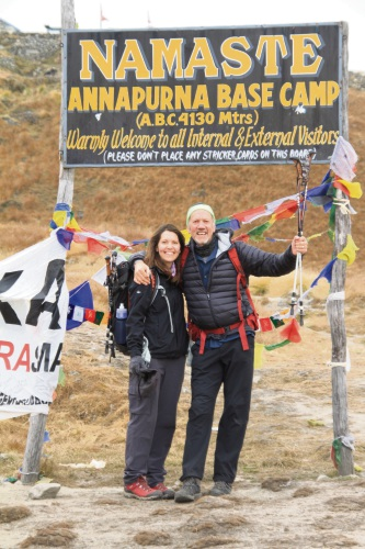 Cockburn's Nell Taylor and Peter Taylor at the base camp.