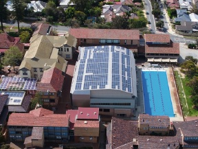 Birds eye view of Scotch College's installation of solar powered energy.