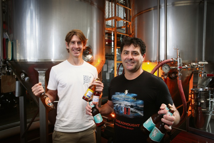 Ross Brown (Production Brewer Gage Roads) Daniel Heary (Brewing Manager Little Creatures) are looking forward to the Fremantle Beer Festival. Photo: Andrew Ritchie. d488173 communitypix.com.au.