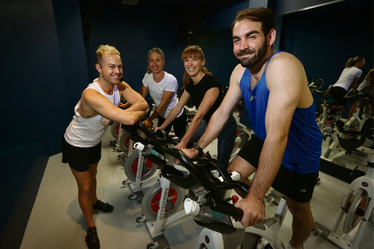 Zac Gower (Instructor), Jaye Cuypers (Director LA Fit), Claire Chidgzey (Director LA Fit) and Alex Paioff (Challenger) For the Ride Challenge Picture: Andrew Ritchie www.communitypix.com.au   d488104