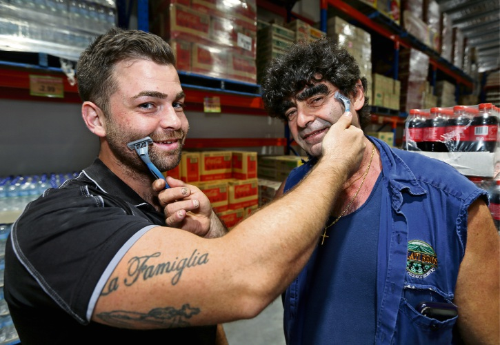 Movember Ambassador Tony Galati and his son Sebastian Galati prepare for Movember with shavers in hand.  Picture: David Baylis d448242