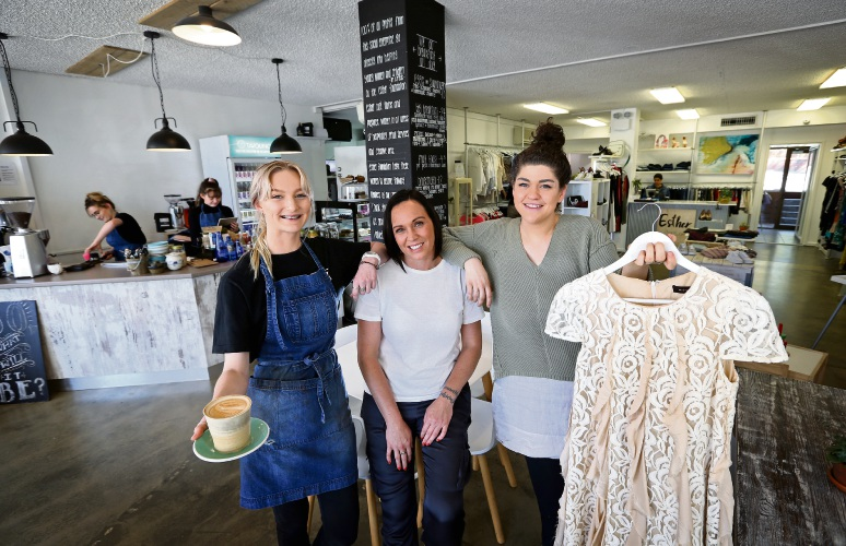 Barista Elleah Campbell, PA Carla Evans and cafe manager Samantha Athan at the Esther Cafe and Boutique in Kalamunda. Picture: David Baylis.