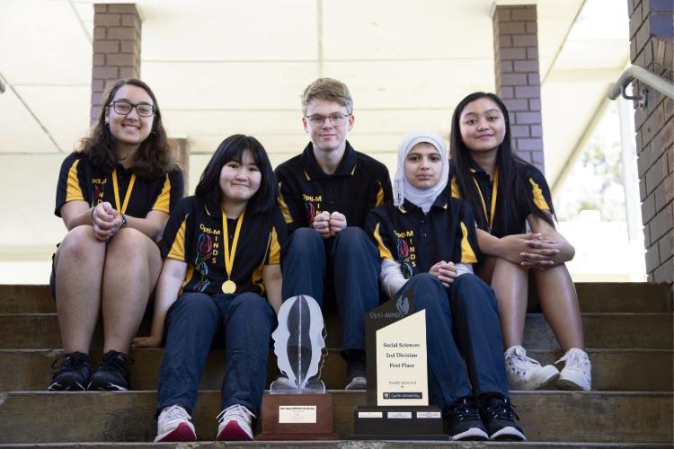 The Opti-Minds champions from Greenwood College - Jacque Walters, Ann Cao, Konrad Dumpleton, Asmaa Hameed and Cyrine Almodovar.