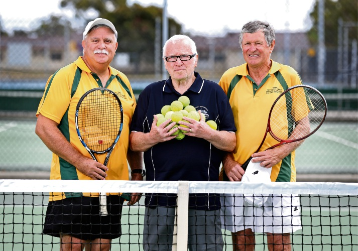 Noranda Tennise Club vice president Graeme Werrett, Frank Kettell and president Don Butler. Noranda Tennis Club will play host to the XKTM Tennis Club from Malaysia on November 24. Picture: David Baylis www.communitypix.com.au d488175