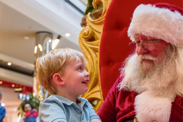Noah chats to Santa Ray at Lakeside Joondalup Shopping City.