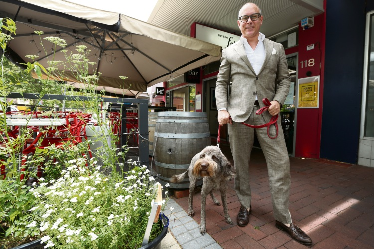 Jeremy Cariss with his dog Cognac outside Bistro Felix. Picture: Andrew Ritchie www.communitypix.com.au   d488330