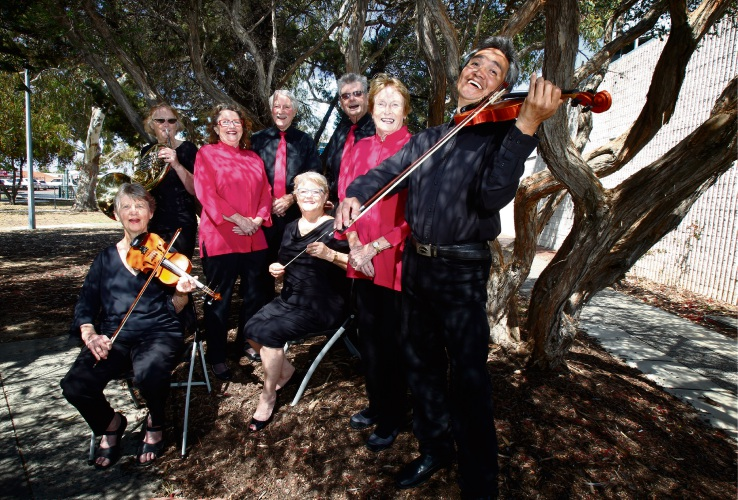 Jennifer Keyl-Smith on violin, Penny Busby on horn next to Wendy Giaimo, Kent Logie, Sheila Barlow (seated), Elvyn Winter, Mhairi MacLeod and Joselito Cruz on violin. Picture: Marie Nirme d488029