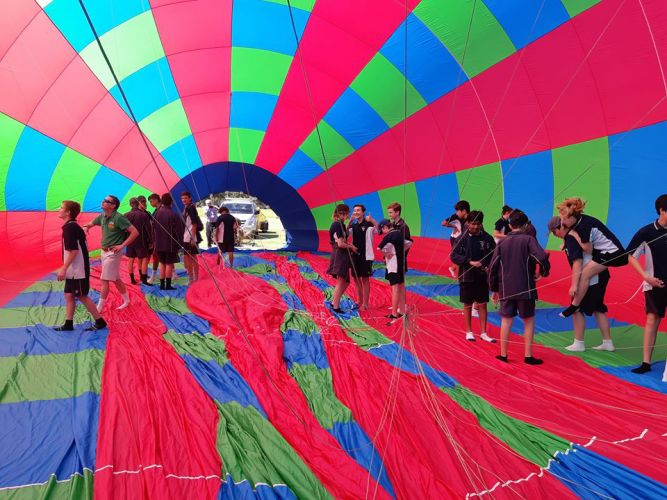 Kent Street Senior High School students inside an inflated hot air balloon. Picture: Donna Tasker