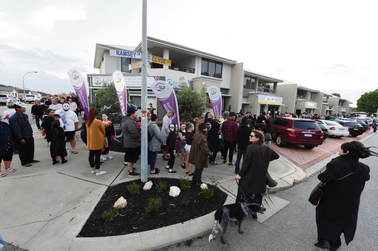 There were long lines to get into the Baldivis Halloween Haunted House. Photo by Jon Hewson.