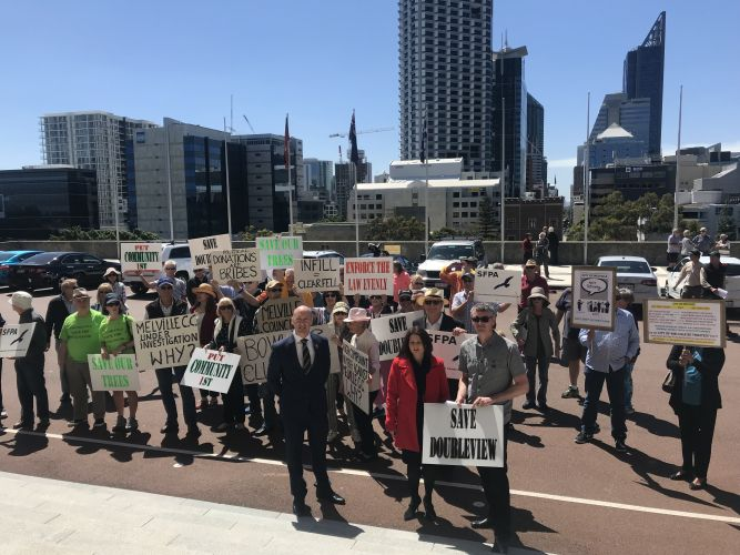 Community groups from across Perth gathered at State Parliament today to call for more consideration to be given to community concerns. Picture: Jess Wariner.