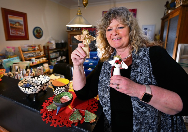 Annette Appleby of Canning Vale (Owner, ABA Productions) with some of her ceramic and print based products on sale at the Made on the Left Xmas Markets. Picture: David Baylis