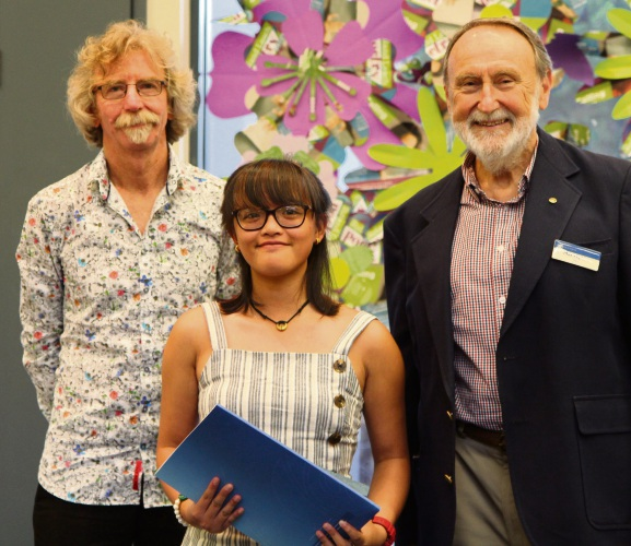 Years 7-9 category winner Bea Alejandre, centre, with Roland Leach, left, and Nedlands Mayor Max Hipkins.