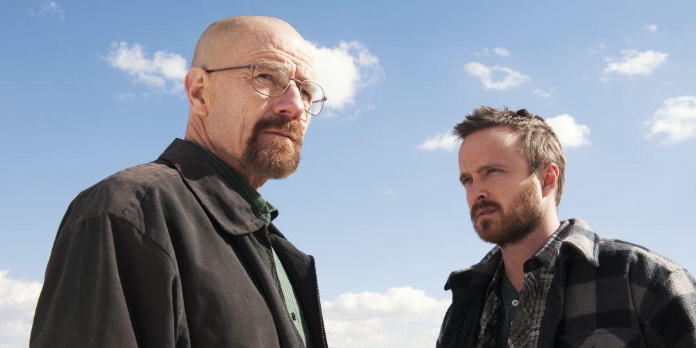 Bryan Cranston as Walter White and Aaron Paul as Jesse Pinkman in Breaking Bad. Photo: AAP