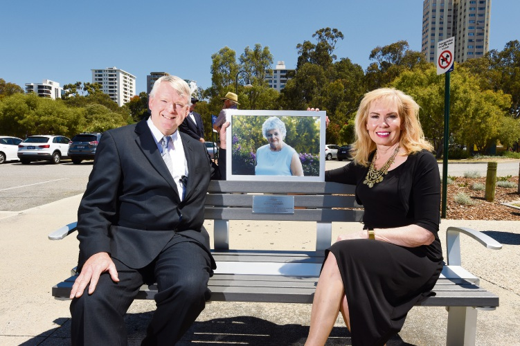 Betty Skinner's son Michael McLerie and his wife Linda sitting on the bench which honours the former City of South Perth councillor. Picture: Jon Hewson.