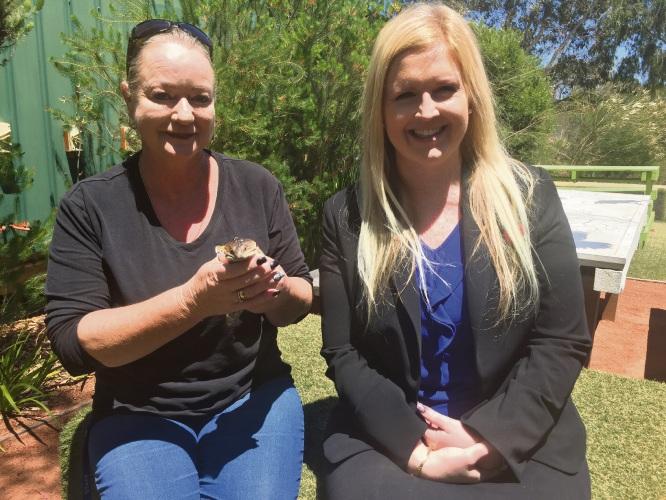 Native Animal Rescue manager Kelli Ellemor, P&N Bank Warwick branch manager Jenny Beard and Mr P.