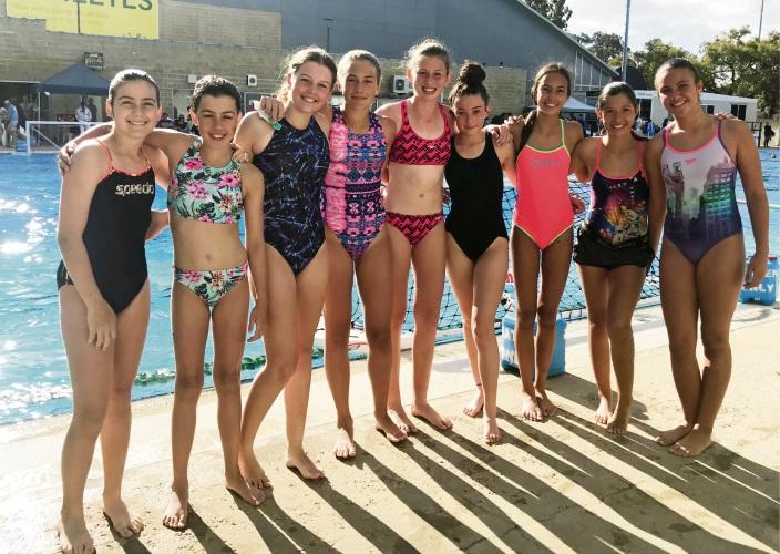 Cockburn Water Polo Club's Brinya Wakefield, Taliesha Hurford, Charli Longmuir, Mia Tigchelaar, Ava McAlinden, Molly Lavery, Tea Cavka, Sofija Solle, Tina Cavka.