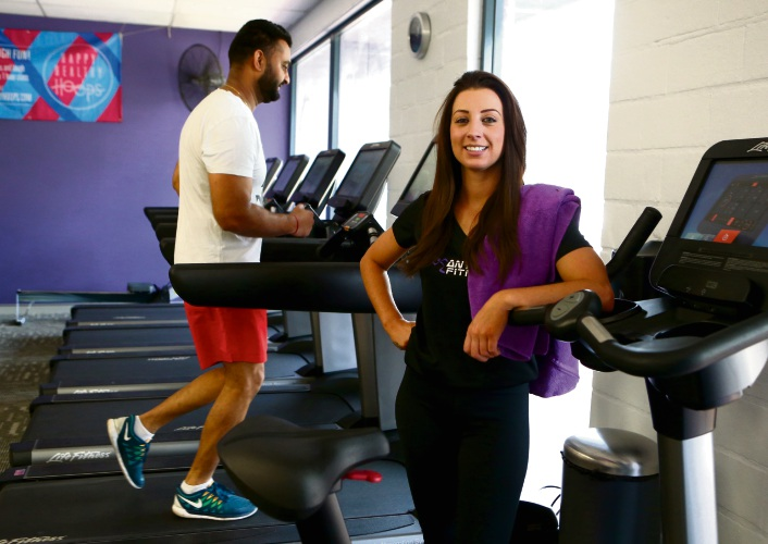 Anytime Fitness Belmont manager Sinead Keane ready for the 24 hour treadmill event. Picture: Matt Jelonek