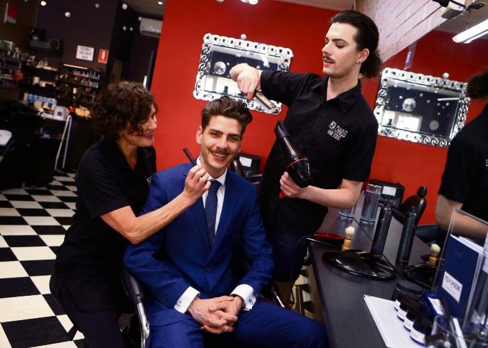 Event organiser Joshua Fiorentino and hairdressers Peta and Jordan Charles. Picture: Matt Jelonek