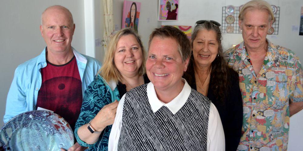 Kevin Glover (Fremantle), CECAT manager Tamara Rouen, Kerstin Koeller (Joondalup), Zann Massie (Balcatta) and Tron Tonnessen (Subiaco) at the Shopfront Gallery. Picture: Jessica Warriner.