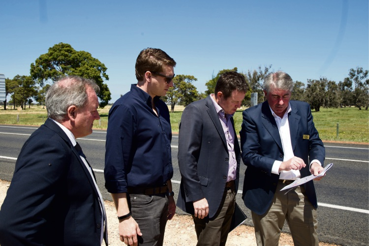 Murray chief executive Dean Unsworth, Andrew Hastie, Andrew Broad and Murray shire president David Bolt on the tour.