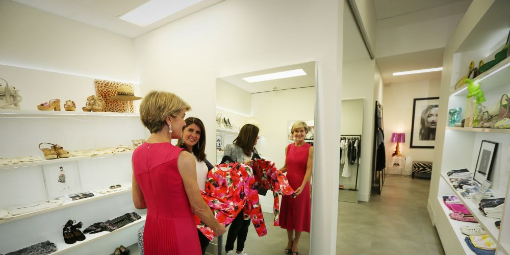 Curtin MHR Julie Bishop backs small businesses, like the Amia boutique across from her office in Rokeby Road. Picture: Andrew Ritchie.