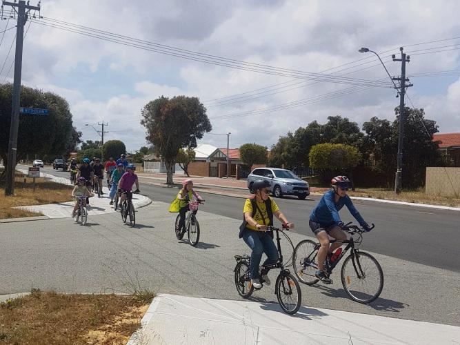 Mirrabooka MLA Janine Freeman with local cyclists on the Perth Bike Network in Balga.
