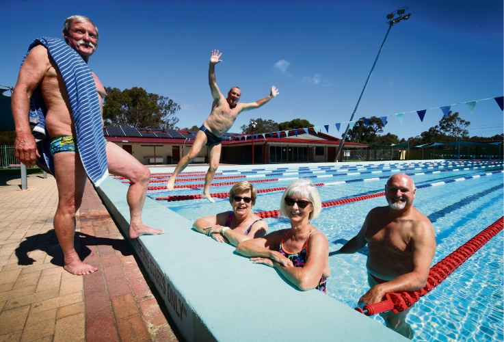 L-R: Geoff Miller, Frank Maloney (jumping), Denise Davis with Rose Hockley and Kym Hockley