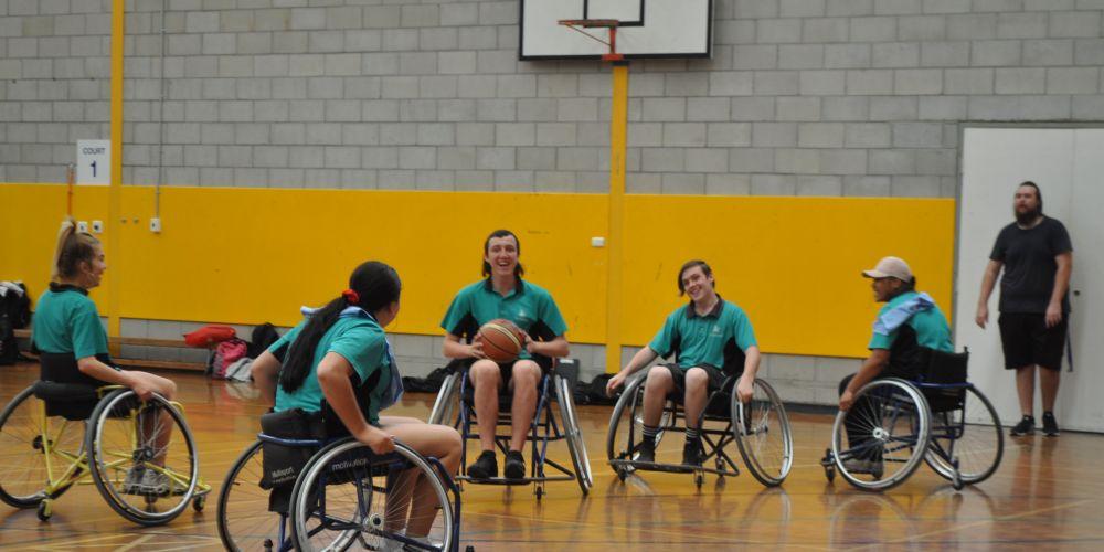 Lakeland SHS students enjoying a game of wheelchair basketball.