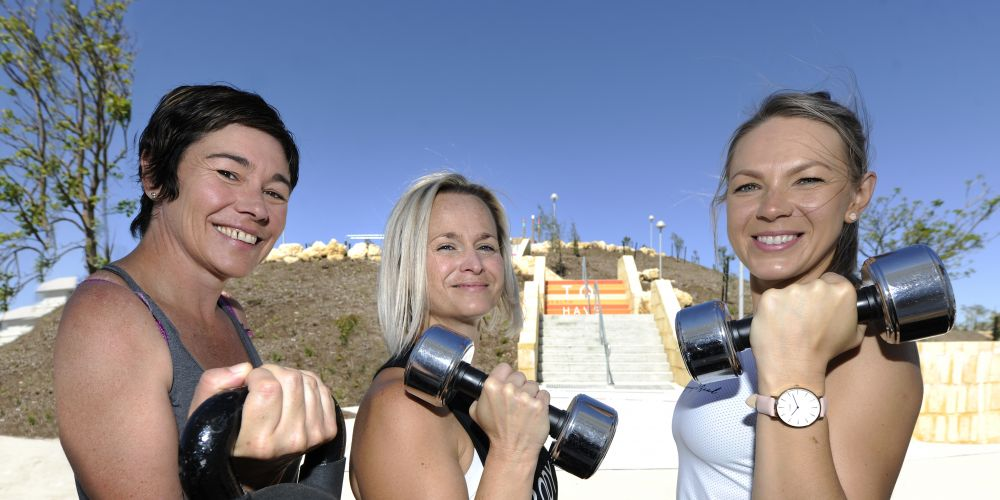 Sophie Spooner (centre) with Sherrilyn and Joanna checking out the fitness park. Picture: Chris Kershaw