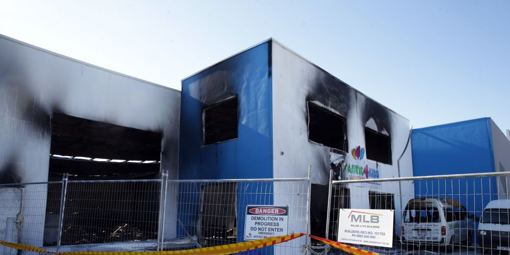Fire caused extensive structural damage to Funtastic4Kids. Picture: Martin Kennealey d488457