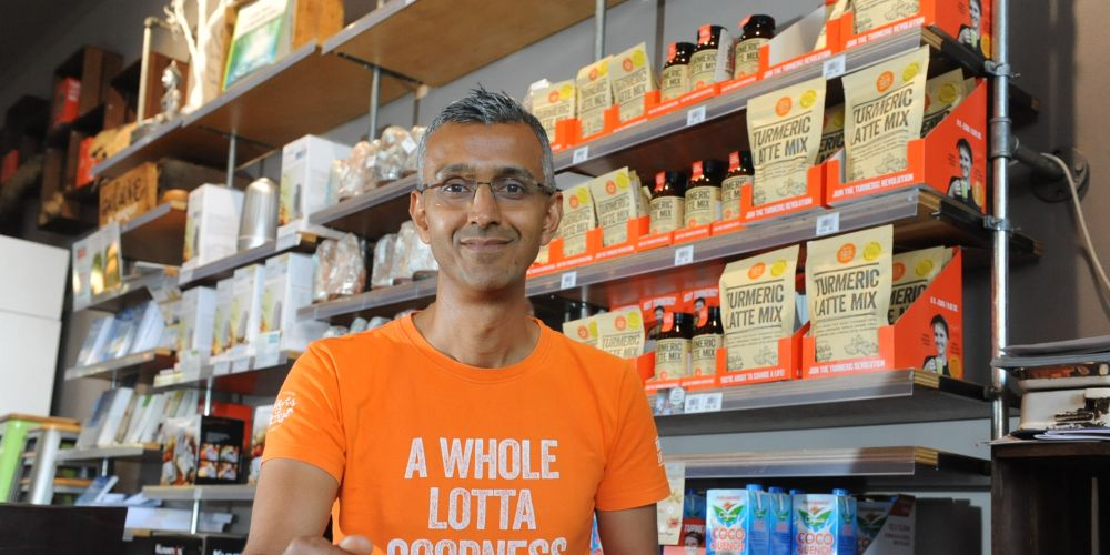 Natures Harvest owner Hament Chayda is selling up to concentrate on sales of his tumeric latte mix. Picture: Jon Bassett
