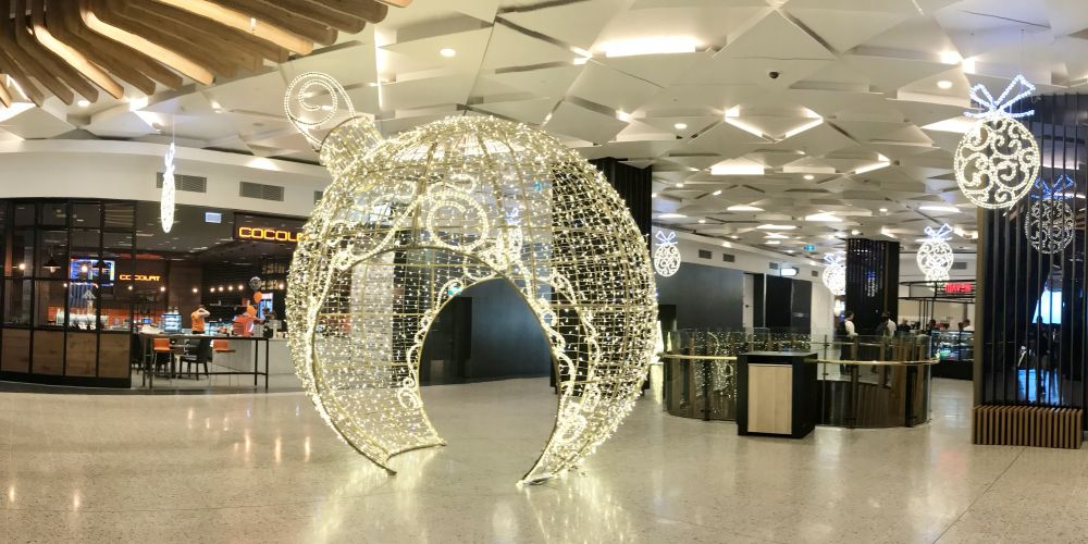 A giant bauble has been installed at Raine Square