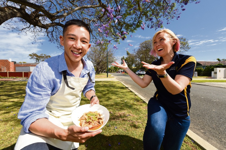 Applecross chef Brendan Pang and Rotary Jacaranda Festival organising committee member Kate Zappa are excited for this year's event. Picture: Jon Hewson.
