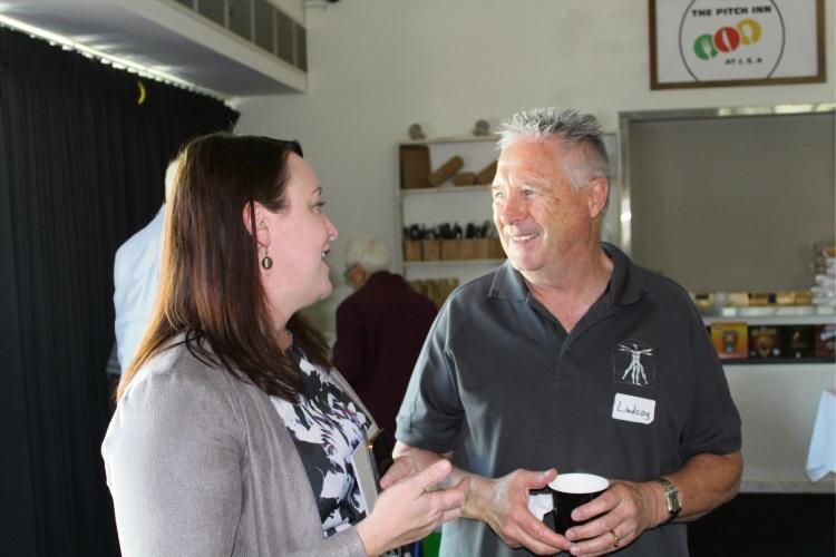 Joondalup MLA Emily Hamilton chats to Iluka resident Lindsay Breach.