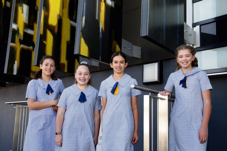 Year 6 students Lucy Rodrigues, Paige Agrela, Anastasia Minchin and Ava Crosthwaite. Picture: Martin Kennealey.