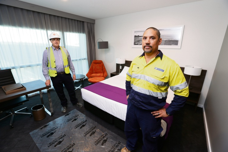 Darryl Whiteley (Project Manager) & Chris Decosta (Doric Construction Manager) in one of the hotel suites. Picture: Andrew Ritchie www.communitypix.com.au   d488598