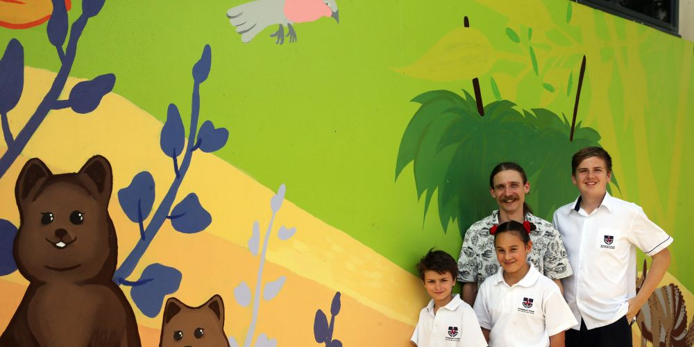Curtin University artist in residence Stephen Peacock with students Daniel Owen), Amy Lefebvne and Mitchell Addiscott. Picture: Martin Kennealey d488161