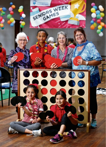 BACK L-R: Teresa Oliver, Mafa Tuialii (9), Margaret Marshall and Shirley Hart.  FRONT L-R: Humaira Hussaini (9) and Katerina Porter (10).  Picture: David Baylis