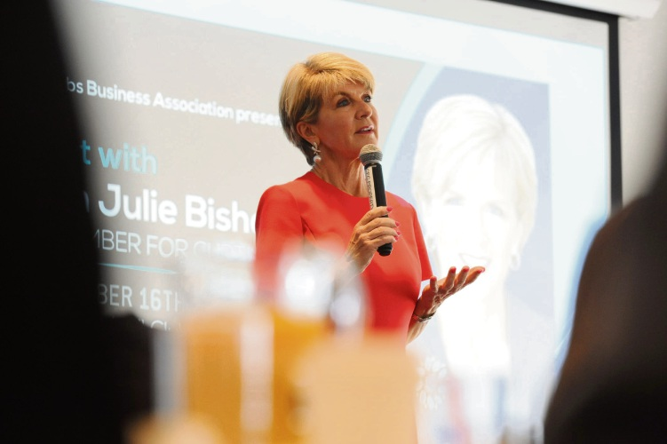Curtin MHR Julie Bishop at the WSBA breakfast. Picture: Jon Bassett