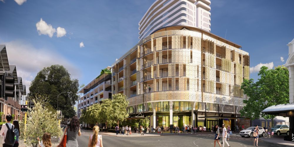 Artist's impression of new Subi Gateway on the corner of Roberts and Rokeby roads.