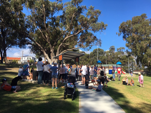 Residents attended a meeting at the park on Sunday morning.