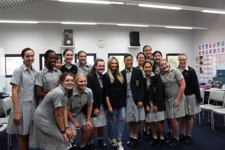 Samantha Jade with the Penrhos College Year 9 music class.