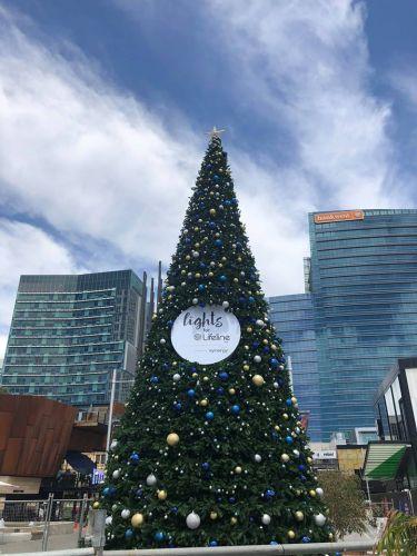 The Lights for Lifeline Christmas tree at Yagan Square