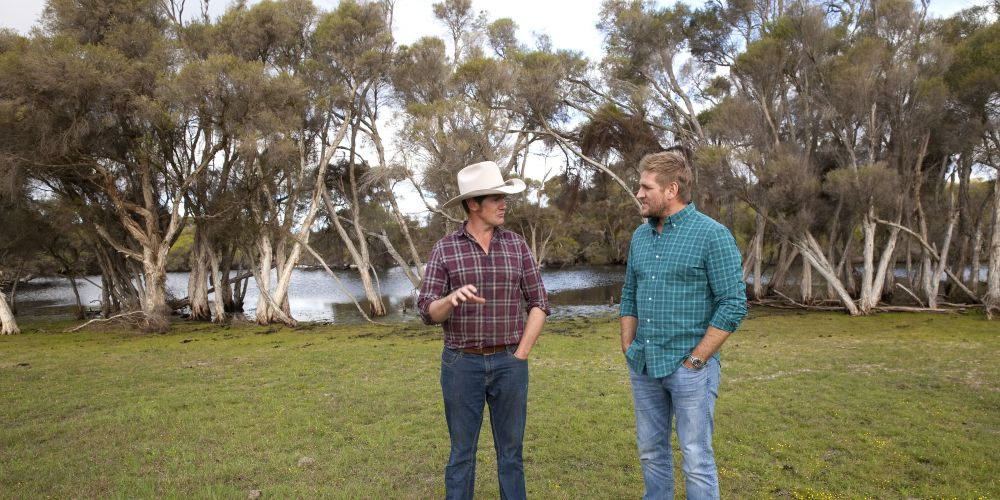 Chef Curtis Stone and cattle farmer Andrew McCormack at his Nirimba farm.