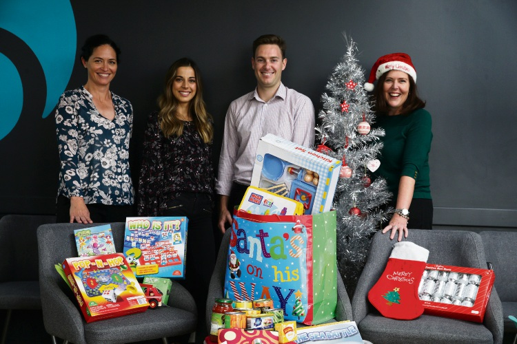Rebecca McKimmie (chiro assistant), Emily Arnett (chiropractor), Dr Brendan O'Connor (chiropractor) and Madaleen Espach (naturopath) are urging the community to donate. Picture: Martin Kennealey d488738